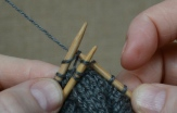 Step 3: Knit the first stitch from each needle together